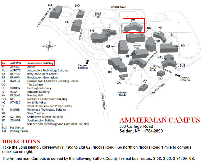 Map of Ammerman Campus