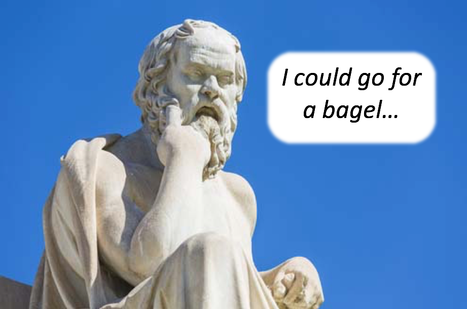 Socrates thinking about a bagel