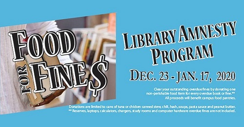 Food for Fines - Bring back one food item for every library item overdue and have your fine waived.  This program ends January 17th.