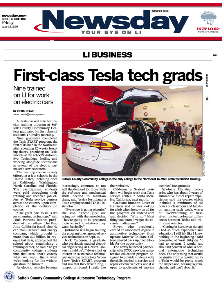 Automotive Technology Program Graduates Nine Inaugural Tesla