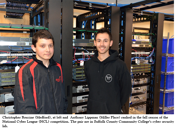 Christopher Renzine (Medford), at left and  Anthony Lippman (Miller Place) ranked in the fall season of the National Cyber League (NCL) competition. The pair are in Suffolk County Community College's cyber security lab.