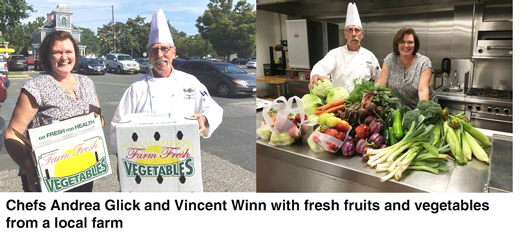 Suffolk County Community College Culinary Arts & Hospitality Program Faculty Chefs, Andrea Click and Vincent Winn, with fresh fruits and vegetables purchased through the CSA program.