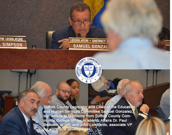Suffolk County Legislator and Chair of the Education and HumanServices Committee Samuel Gonzalez, top, listens to testimony from Suffolk County Community College VP for Academic Affairs Dr. Paul Beaudin, at left, and John Lombardo, associate VP for workforce development.
